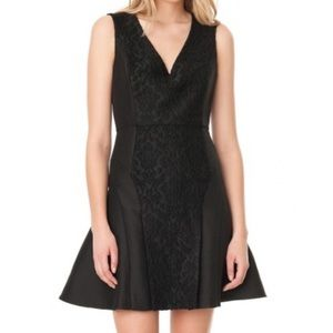 Tibi Worth Embroidered Fit And Flare Dress: Black